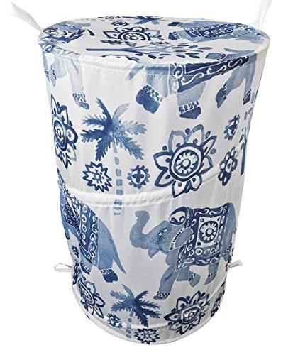 Skipper Elephant Print Polyester Laundry Bag, 20 Liters, Blue