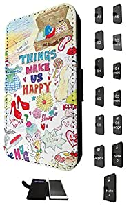 1220 - Things Make Girls Happy Shopping Shoes ice Cream Flowers Kiss Design Samsung Galaxy A5 Fashion Trend TPU Leather Flip Case Full Case Flip Credit Card TPU Leather Purse Pouch Defender Stand Cover