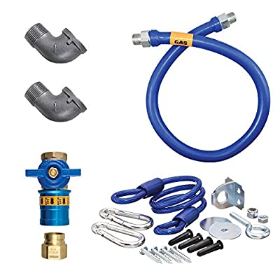 "Dormont 1675KITCF24 Deluxe Safety Quik® 24"" Gas Connector Kit with Two Elbows and Restraining Cable - 3/4"" Diameter"