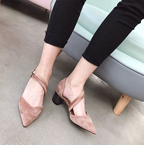 All Velvet Spring The Thick Fashion Shoes Match Lady Point Hollow 5Cm High Elegant Heels Shoes Shoes Leisure With Single Work 36 Pink MDRW Work OYpqOS