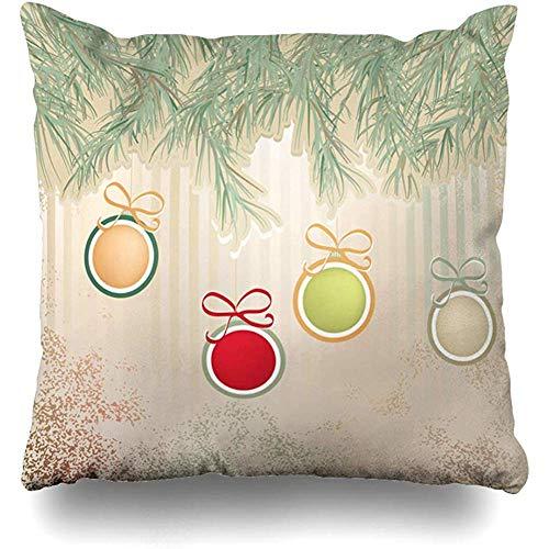 - Throw Pillow Cover Ornamental Blue Abstract Christmas Retro Balls Holidays Flake Celebrate Celebration Congratulation Decorative Pillow Case Decor Square Size 18x18 Inches Home Pillowcase