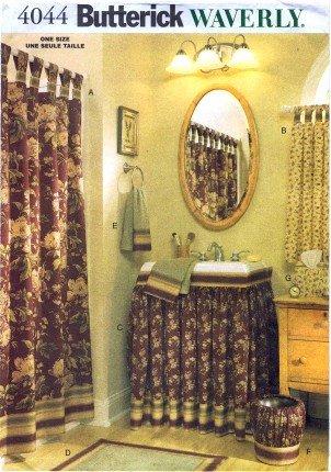 Butterick 4044 Sewing Pattern Waverly Bathroom Shower Curtain Sink Skirt