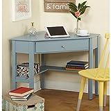 Simple Living Ellen Corner Computer Writing Desk Antique Blue