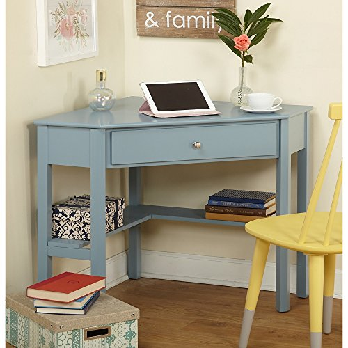 Simple Living Ellen Corner Computer Writing Desk Antique Blue by LIVING