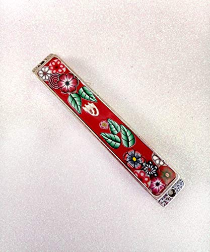 Floral Mezuzah case Gift, Jewish Housewarming Handmade Designer Art, Mezuzah With Scroll Blessing Gifts Made In Israel (Silver Plated Classic Scroll)