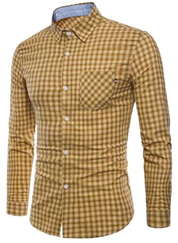 Wear Work Long Fashion up Sleeve QianQian Button Fitted Yellow Plaid Dress Shirt to Men's AU xa0qqnXZ