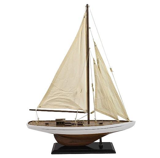 Segelschiff Schiff Modell Aluminium silber Schreibtisch Deko Antik-Stil