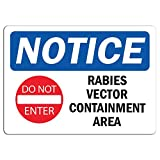Notice - Rabies Vector Containment Area Sign with Symbol | Label Decal Sticker Retail Store Sign Sticks to Any Surface 8'