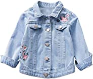 Hotiary Embroidered Long Sleeve Denim Jacket Tops for Children Girls