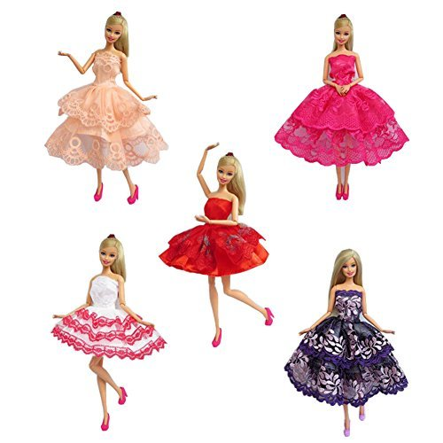FairyStar 5 Set Of Handmade Embroidered Dress Various Styles Made To Fit Barbie Doll