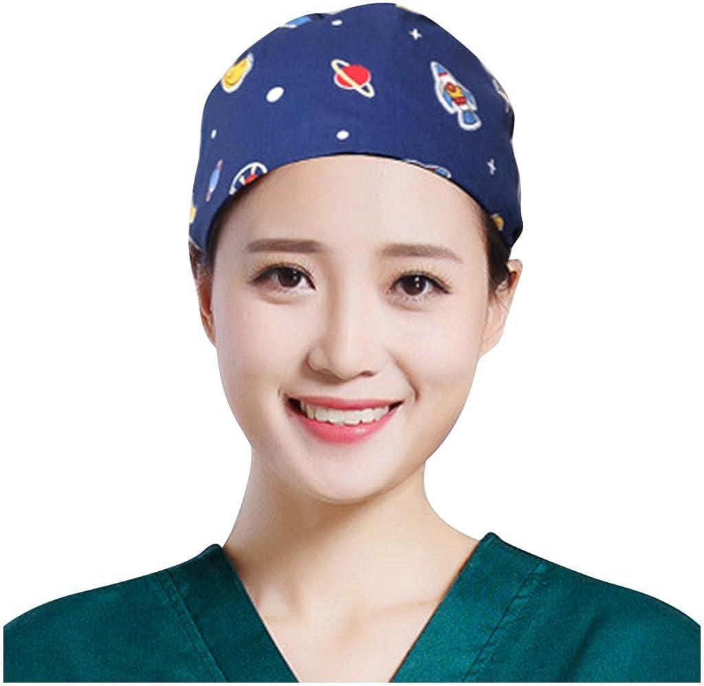 Unisex Soft Surgical Scrub Cap Medical Hat Funny Prints Skullies Caps Muslim Hats Scrub Hat for Women//Men