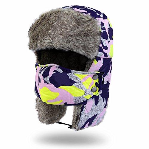 Vbiger Fellmütze Fliegermütze Pilotenmütze Mütze Polarmütze Ohrenschutz Skifahren Hut