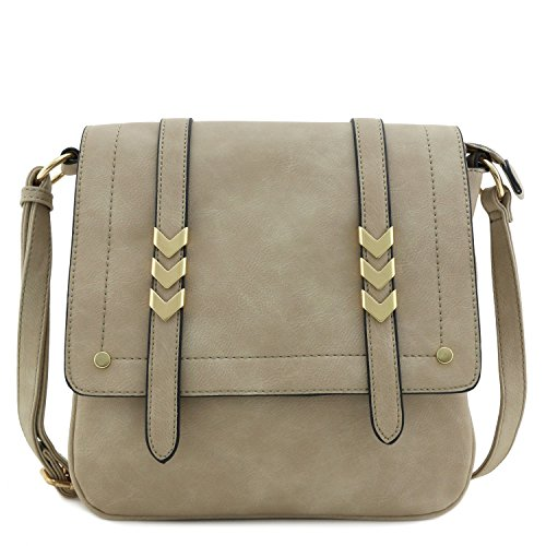 Double Compartment Large Flapover Crossbody Bag Light Stone