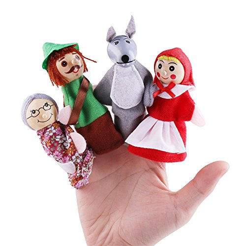 Finger Puppets Toys Set, Kid's Storytelling Doll, Children's Learn Play Story Toy, Little Red Riding Hood and Wolf Fairy Story ( 4 Pcs (Red Riding Hood Halloween Song)