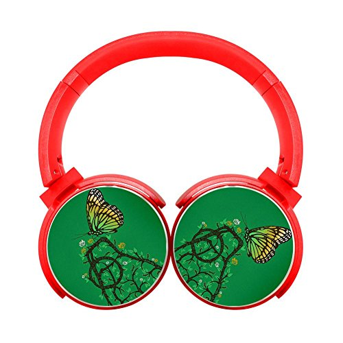 Noise-Canceling Wireless HiFi Stereo Bass Over Ear Bluetooth Headphone Foldable Soft Memory Protein Earmuffs for Pc/Cell Phones/Tv 3.5Mm Plug,Print Butterfly Flower Picking,Red