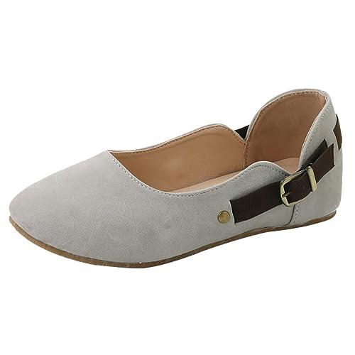 ESAILQ 2019 Zapatos Casuales De Mujer Mocasines Retro Hebilla De Cinturón Zapatos De La Marea para