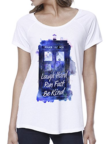 Ripple Junction Doctor Who Laugh Hard Run Fast Watercolor Tardis Junior T-Shirt Small - Doctor Juniors T-shirt