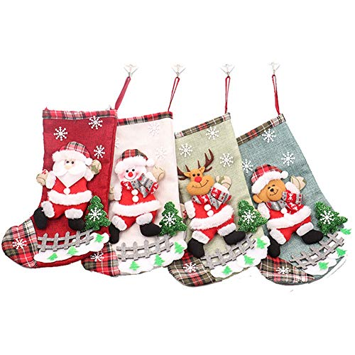 KAMA BRIDAL Embroidered 3D Christmas stockings holiday Decoration Ornaments Colorful