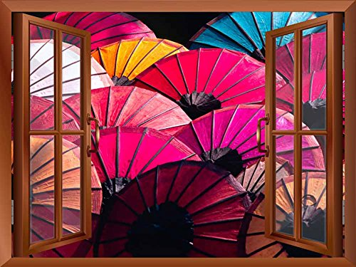 Copper Window Looking Out Into Colorful Japanese Umbrellas Wall Mural