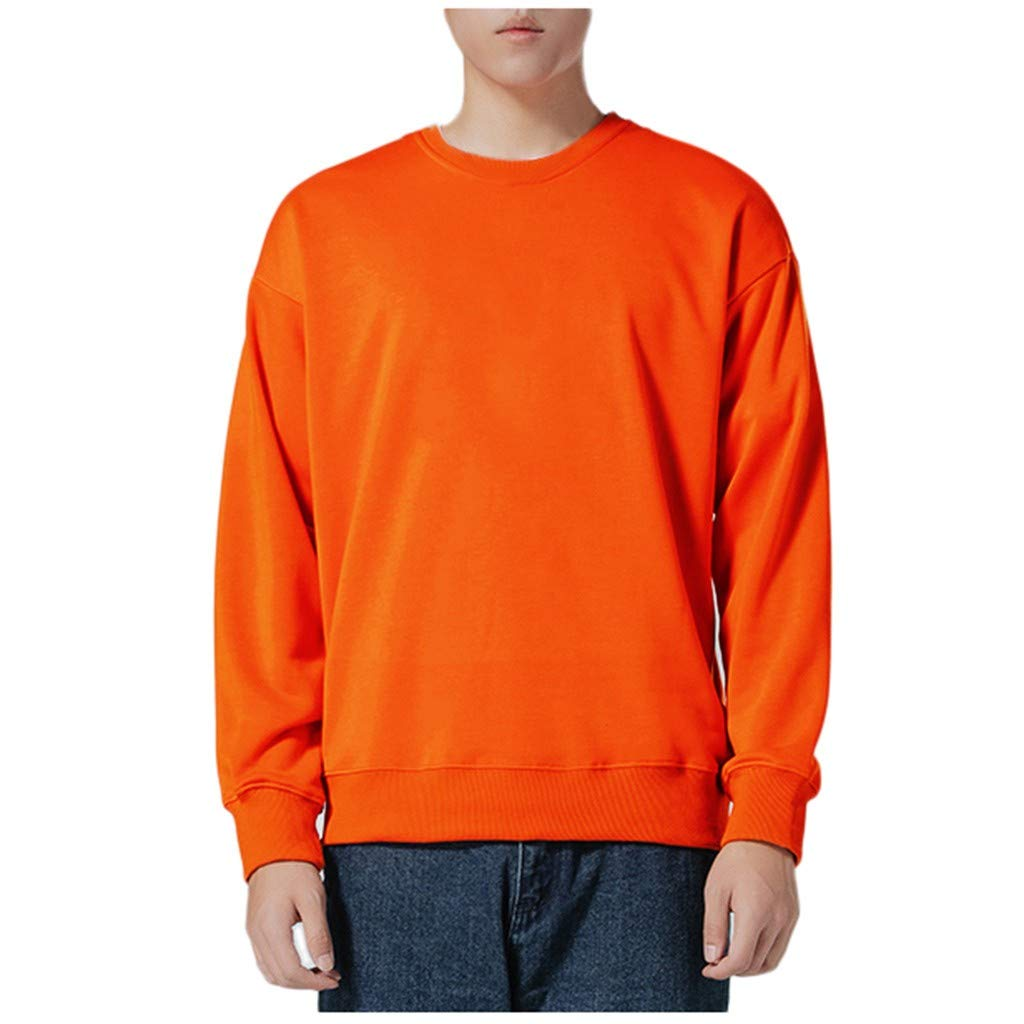 Men's Autumn Winter Long Sleeved Tops Solid Bottoming T-Shirts Orange by Badymin