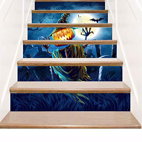 3D Stairs Stickers, DIY Self-Adhesive Vinyl Waterproof Stairs Decals Mural Home Bedroom Decoration Halloween (As Shown)
