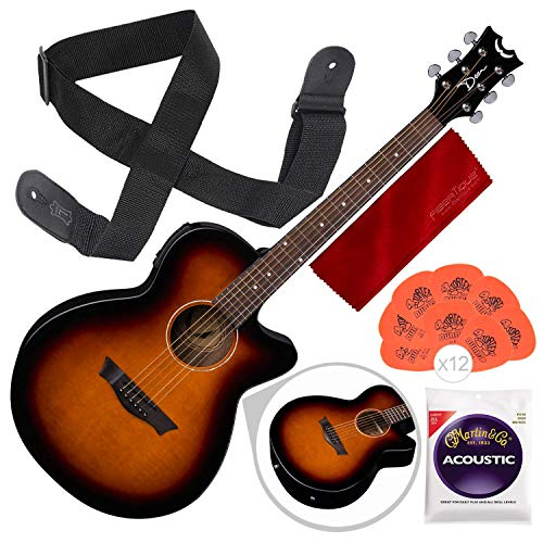 Dean AX PE TSB Acoustic-Electric Guitar, Tobacco Sunburst with Guitar Strap and Accessory Bundle