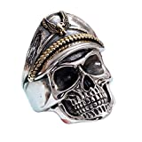 Gothic Two Tone 925 Sterling Silver WWII Officer Skull Ring Jewelry with Hat for Men Boys Size 8