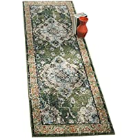Safavieh Monaco Collection MNC243F Vintage Oriental Forest Green and Light Blue Distressed Runner (22 x 14)