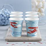 Ginger Ray Vintage Aeroplane Themed Party Paper Cups X 8 - Flying High