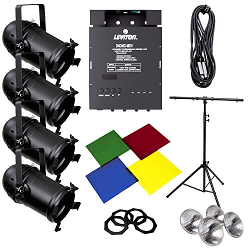 Leviton HONEK-56 Lighting System Par 56 Expansion Kit: Par 56 Fixtures, D4DMX Dimmer Pack, T-Stand and Accessories ()