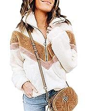 PRETTYGARDEN Women's Warm Long Sleeve Half Zipper Color Block Striped Fuzzy Fleece Pullover Sherpa Sweatshirt Coat