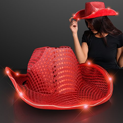 FlashingBlinkyLights Red Sequin Light Up LED Cowboy Hat with Red LED Brim -