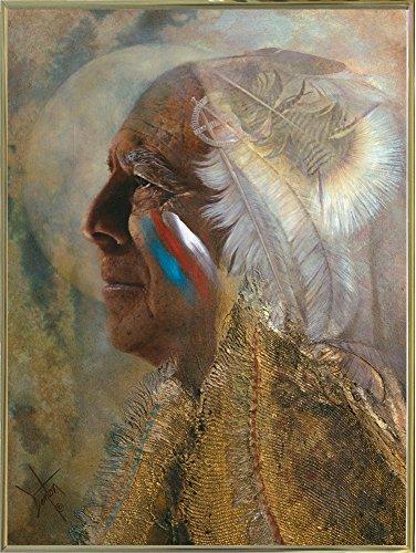 Frame USA Wicasa Wakan (the Holy Man) Framed Print 42.5''x31.5'' by Denton Lund, 42.5x31.5, Metal Frame Gold by Frame USA