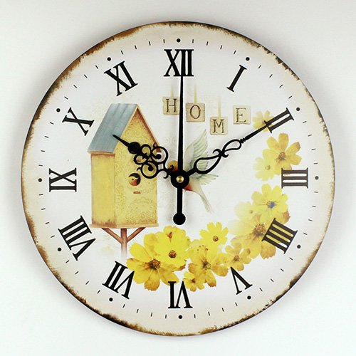 Moonluna Home Theme Wall Clock Wooden Clock for Living Room Birds with Yellow Flower Decoration Housewarming Present Ticking Silent 16 inch