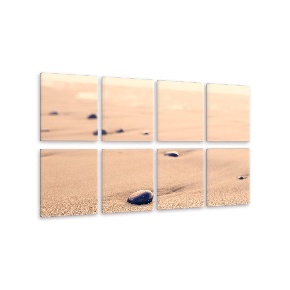 malango® Leinwandbild - Sand Steine (8-teilig) 155 x 75 cm