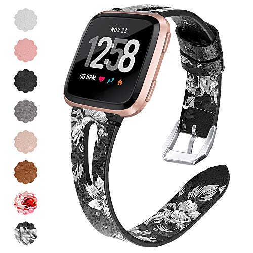 QIBOX Compatible Fitbit Versa Bands, Replacement Soft Leather Flower Band Bracelet Strap Hook Loop Fastener Adjustable Wristbands Compatible Fitbit Versa Smart Watch