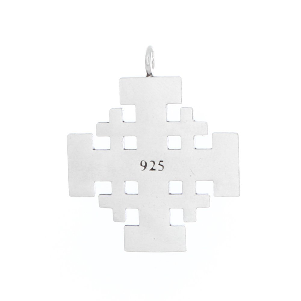 22 Azaggi Sterling Silver Handcrafted Jerusalem Cross Outlined Necklace