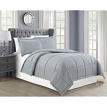Mk Collection Down Alternative Comforter Set 3pc Full/queen Grey New