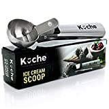 #6: KUCHE Easy Trigger Stainless Steel Ice Cream Scoop, Cookie Dough and Water Melon Scoop