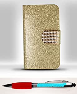 Accessory Factory(TM) Bundle (the item, 2in1 Stylus Point Pen) iPhone 4 - Horizontal EXCLUSIVE DIAMOND Flap Pouch w Credit Card Pockets S2 Gold ECFHP Case Cover Protector Stylish Full Diamond Bling Design Snap On Hard Faceplate Shell