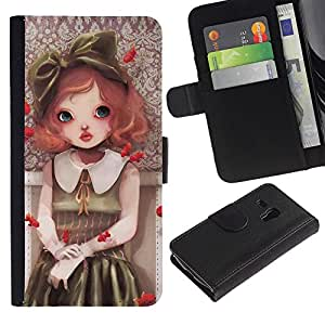 iBinBang / Flip Funda de Cuero Case Cover - Pintura linda chica - Samsung Galaxy S3 MINI NOT REGULAR! I8190 I8190N