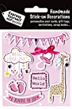 Express Yourself MIP, self adhesive New Baby Girl Toppers - Ideal for Card Making, Scrapbooking, Papercrafts, Childrens Crafts, Gift Wrapping etc