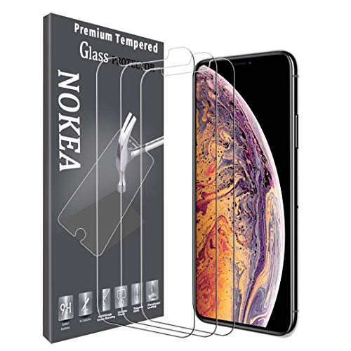 NOKEA Compatible with iPhone Xs Max Screen Protector, [3 Pack] Clear HD Touch Accurate Tempered Glass Anti-Scratch 2.5 D Curved Edge 6.5 Inch Screen Protector with Lifetime Replacement Warranty