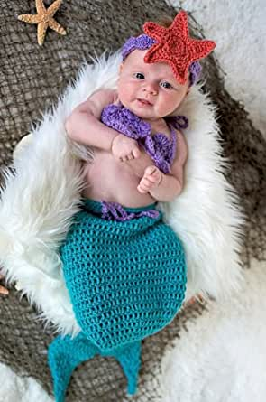 Newborn Crochet Mermaid Tail Cocoon Baby Girl Flower Headband Beanie Hat Costume Photography Photo Props 0-3 Months+Free Gift,Lace Doilies,Random Colors