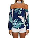Gocheaper Womens Off Shoulder Long Sleeve Blouse Choker Leaf Print Casual Tops Shirt (S, Blue)