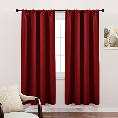 Blackout Curtains Drape Window Set - PONY DANCE Thermal Insulated & Noise Reducing Rod Pocket Blackout Curtain Panels / Window Treatment for Bedroom,42
