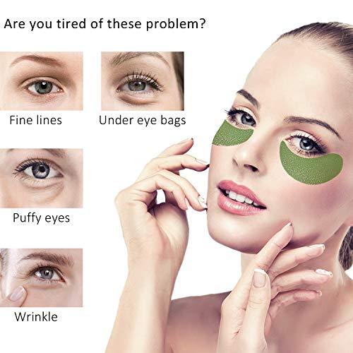Under Eye Patches Collagen Eye Mask Dark Circles Under Eye Treatment Green Tea Firming Gel Eye Treatment Mask For Puffy Eyes, Fine Lines, Wrinkles,Under Eye Bags,Eye Moisturizing (30Pairs,Green)