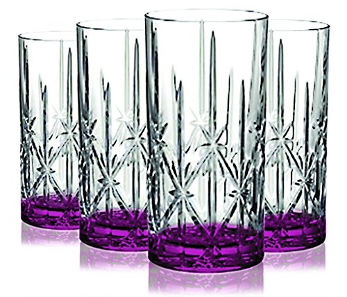 (Pink Marquis by Waterford Sparkle High Ball Glasses, 22-Ounce with Colored Accent -Set of 4- Additional Vibrant Colors Available by)