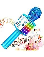 SunTop Draadloze Karaoke Bluetooth-microfoon, Bluetooth-microfoon met dansende LED-verlichting, Bluetooth-luidspreker, recordfunctie, thuis karaoke-speler voor thuis KTV/feest/kinderen zingen