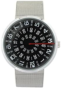 YouYouPifa Unisex Special Design Dial Stainless Steel Quartz Business Wrist Watch (Black)